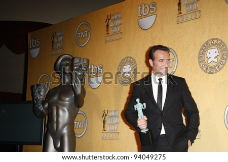 LOS ANGELES, CA - JAN 29: Jean DuJardin in the press room at the 18th annual Screen Actor Guild Awards at the Shrine Auditorium on January 29, 2012 in Los Angeles, California - stock photo