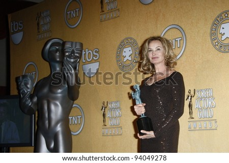 LOS ANGELES, CA - JAN 29: Jessica Lange in the press room at the 18th annual Screen Actor Guild Awards at the Shrine Auditorium on January 29, 2012 in Los Angeles, California - stock photo