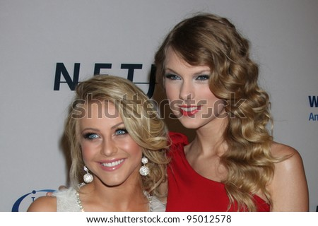 "LOS ANGELES, CA - JAN 27: Julianne Hough & Taylor Swift at the ""An Unforgettable Evening"" benefiting EIF's Women's Cancer Research Fund on January 27, 2010 in Los Angeles, California - stock photo"