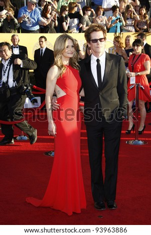 LOS ANGELES, CA - JAN 29: Kyra Sedgwick; Kevin Bacon at the 18th annual Screen Actor Guild Awards at the Shrine Auditorium on January 29, 2012 in Los Angeles, California - stock photo