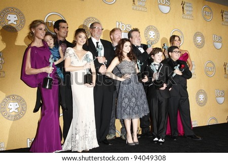 LOS ANGELES, CA - JAN 29: Modern Family in the press room at the 18th annual Screen Actor Guild Awards at the Shrine Auditorium on January 29, 2012 in Los Angeles, California - stock photo