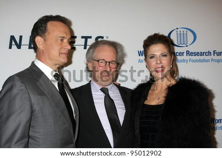 "LOS ANGELES, CA - JAN 27: Tom Hanks, Steven Spielberg, & Rita WIlson at the ""An Unforgettable Evening"" benefiting EIF's Women's Cancer Research Fund on January 27, 2010 in Los Angeles, California"