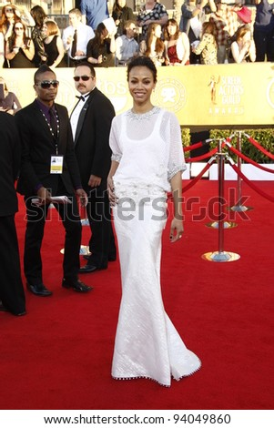 LOS ANGELES, CA - JAN 29: Zoe Saldana at the 18th annual Screen Actor Guild Awards at theShrine Auditorium on January 29, 2012 in Los Angeles, California - stock photo
