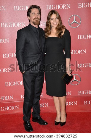 LOS ANGELES, CA - JANUARY 2, 2016: Actor Christian Bale & actress wife Sibi Blazic at the 2016 Palm Springs International Film Festival Awards Gala - stock photo