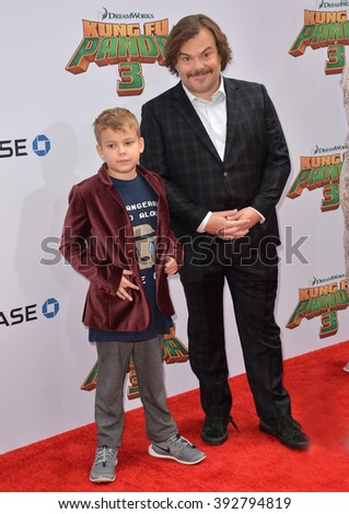 LOS ANGELES, CA - JANUARY 16, 2016: Actor Jack Black & son Samuel Jason Black at the world premiere of Kung Fu Panda 3 at the TCL Chinese Theatre, Hollywood. - stock photo