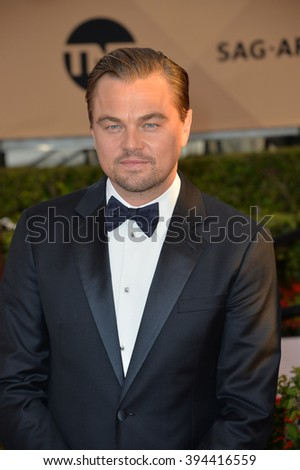LOS ANGELES, CA - JANUARY 30, 2016: Actor Leonardo DiCaprio at the 22nd Annual Screen Actors Guild Awards at the Shrine Auditorium - stock photo