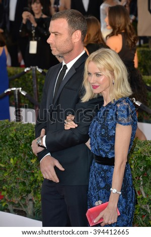 LOS ANGELES, CA - JANUARY 30, 2016: Actor Liev Schreiber & actress wife Naomi Watts at the 22nd Annual Screen Actors Guild Awards at the Shrine Auditorium - stock photo