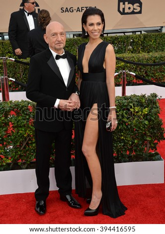 LOS ANGELES, CA - JANUARY 30, 2016: Actor Sir Ben Kingsley & actress wife Daniela Lavender at the 22nd Annual Screen Actors Guild Awards at the Shrine Auditorium - stock photo