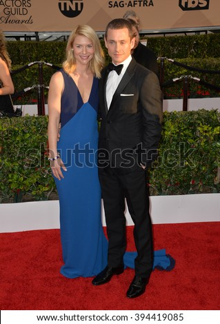 LOS ANGELES, CA - JANUARY 30, 2016: Actress Claire Danes & actor husband Hugh Dancy at the 22nd Annual Screen Actors Guild Awards at the Shrine Auditorium - stock photo