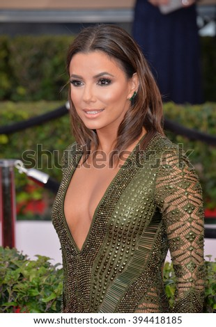 LOS ANGELES, CA - JANUARY 30, 2016: Actress Eva Longoria at the 22nd Annual Screen Actors Guild Awards at the Shrine Auditorium - stock photo