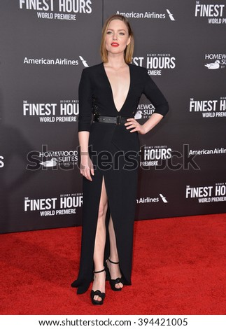"LOS ANGELES, CA - JANUARY 25, 2016: Actress Holliday Grainger at the premiere of her movie ""The Finest Hours"" at the TCL Chinese Theatre, Hollywood."