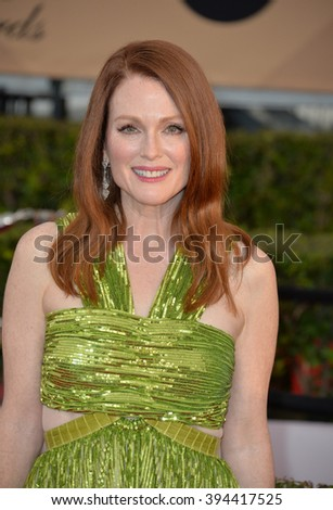LOS ANGELES, CA - JANUARY 30, 2016: Actress Julianne Moore at the 22nd Annual Screen Actors Guild Awards at the Shrine Auditorium - stock photo