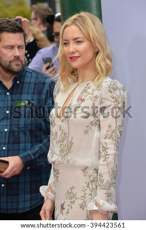 LOS ANGELES, CA - JANUARY 16, 2016: Actress Kate Hudson at the world premiere of Kung Fu Panda 3 at the TCL Chinese Theatre, Hollywood. - stock photo