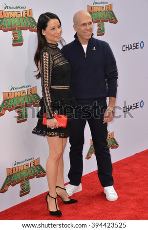 LOS ANGELES, CA - JANUARY 16, 2016: Actress Lucy Liu & Dreamworks boss Jeffrey Katzenberg at the world premiere of Kung Fu Panda 3 at the TCL Chinese Theatre, Hollywood. - stock photo