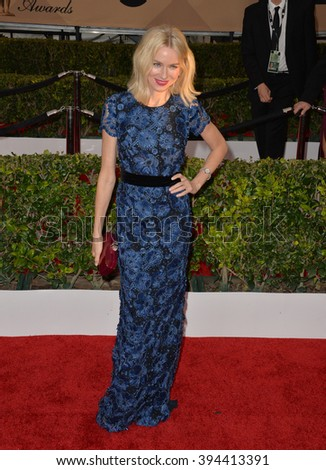 LOS ANGELES, CA - JANUARY 30, 2016: Actress Naomi Watts at the 22nd Annual Screen Actors Guild Awards at the Shrine Auditorium - stock photo
