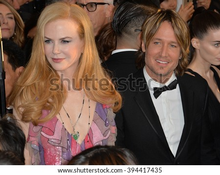 LOS ANGELES, CA - JANUARY 30, 2016: Actress Nicole Kidman & husband singer Keith Urban at the 22nd Annual Screen Actors Guild Awards at the Shrine Auditorium - stock photo