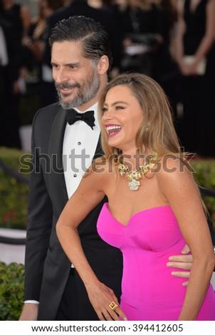 LOS ANGELES, CA - JANUARY 30, 2016: Actress Sofia Vergara & husband Joe Manganiello at the 22nd Annual Screen Actors Guild Awards at the Shrine Auditorium - stock photo