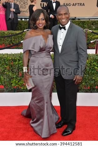 LOS ANGELES, CA - JANUARY 30, 2016: Actress Viola Davis & actor husband Julius Tennon at the 22nd Annual Screen Actors Guild Awards at the Shrine Auditorium - stock photo