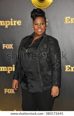 "LOS ANGELES, CA - JANUARY 6, 2015: Amber Riley at the premiere of Fox's new TV series ""Empire"" at the Cinerama Dome, Hollywood. - stock photo"