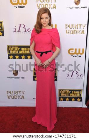 LOS ANGELES, CA - JANUARY 16, 2014: Amy Adams at the 19th Annual Critics' Choice Awards at The Barker Hangar, Santa Monica Airport.  - stock photo
