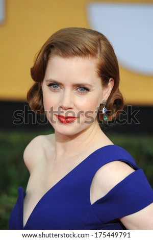 LOS ANGELES, CA - JANUARY 18, 2014: Amy Adams at the 20th Annual Screen Actors Guild Awards at the Shrine Auditorium.  - stock photo