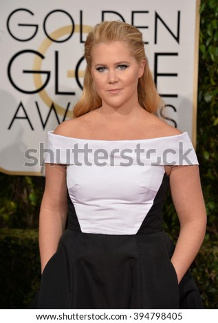 LOS ANGELES, CA - JANUARY 10, 2016: Amy Schumer at the 73rd Annual Golden Globe Awards at the Beverly Hilton Hotel.