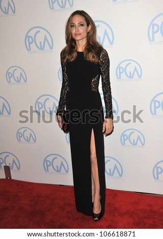 LOS ANGELES, CA - JANUARY 21, 2012: Angelina Jolie at the 23rd Annual Producers Guild Awards at the Beverly Hilton Hotel. January 21, 2012  Los Angeles, CA - stock photo