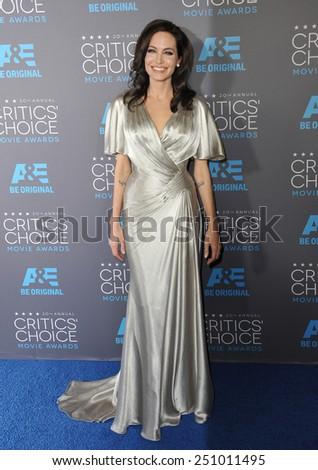 LOS ANGELES, CA - JANUARY 15, 2015: Angelina Jolie at the 20th Annual Critics' Choice Movie Awards at the Hollywood Palladium.  - stock photo
