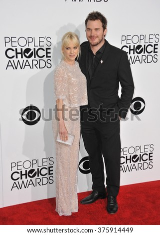 LOS ANGELES, CA - JANUARY 8, 2014: Anna Faris & husband Chris Pratt at the 2014 People's Choice Awards at the Nokia Theatre, LA Live.