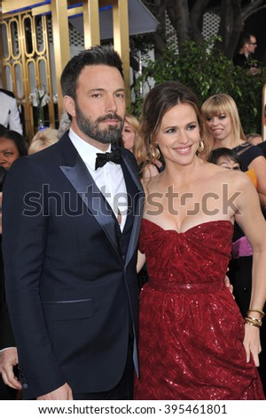 LOS ANGELES, CA - JANUARY 13, 2013: Ben Affleck & Jennifer Garner at the 70th Golden Globe Awards at the Beverly Hilton Hotel. - stock photo