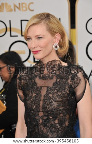 LOS ANGELES, CA - JANUARY 12, 2014: Cate Blanchett at the 71st Annual Golden Globe Awards at the Beverly Hilton Hotel.