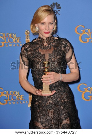 LOS ANGELES, CA - JANUARY 12, 2014: Cate Blanchett in the press room at the 71st Annual Golden Globe Awards