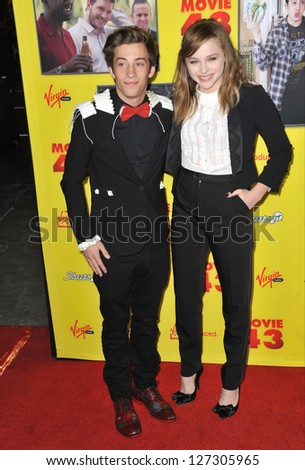 "LOS ANGELES, CA - JANUARY 23, 2013: Chloe Grace Moretz & Jimmy Bennett at the Los Angeles premiere of their movie ""Movie 43"" at Grauman's Chinese Theatre, Hollywood."
