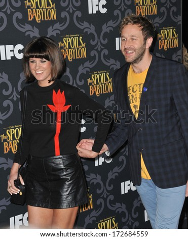 "LOS ANGELES, CA - JANUARY 7, 2014: Chris O'Dowd & wife Dawn Porter at the premiere of the TV series ""The Spoils of Babylon"" at the Directors Guild of America Theatre."