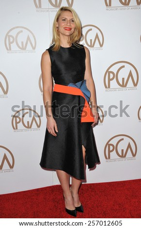 LOS ANGELES, CA - JANUARY 25, 2015: Claire Danes at the 26th Annual Producers Guild Awards at the Hyatt Regency Century Plaza Hotel.  - stock photo