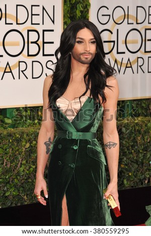LOS ANGELES, CA - JANUARY 11, 2015: Conchita Wurst  at the 72nd Annual Golden Globe Awards at the Beverly Hilton Hotel, Beverly Hills.