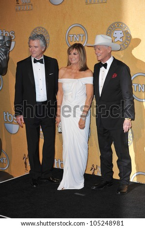 "LOS ANGELES, CA - JANUARY 29, 2012: ""Dallas"" stars Patrick Duffy (left), Linda Grey & Larry Hagman at the Screen Actors Guild Awards at the Shrine Auditorium. January 29, 2012  Los Angeles, CA"