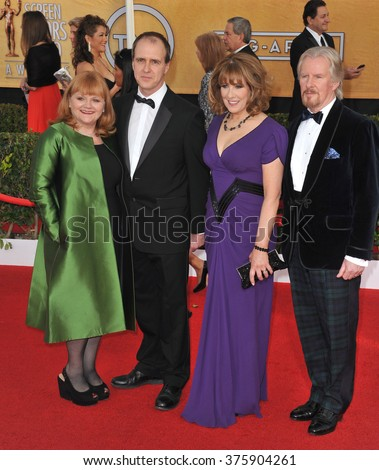 LOS ANGELES, CA - JANUARY 18, 2014: Downton Abbey stars Lesley Nicol, Kevin Doyle, Phyllis Logan & David Robb at the 20th Annual Screen Actors Guild Awards at the Shrine Auditorium.