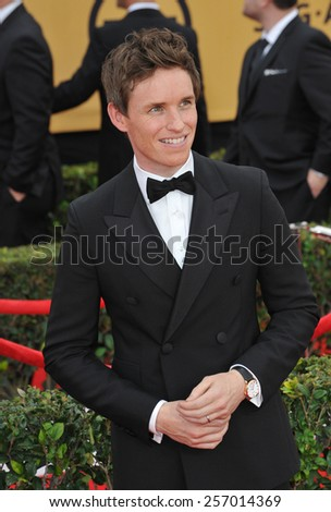 LOS ANGELES, CA - JANUARY 25, 2015: Eddie Redmayne at the 2015 Screen Actors Guild  Awards at the Shrine Auditorium.  - stock photo