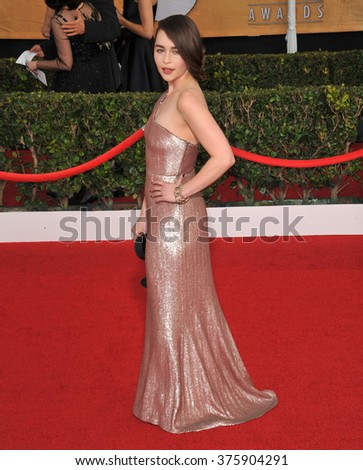 LOS ANGELES, CA - JANUARY 18, 2014: Emilia Clarke at the 20th Annual Screen Actors Guild Awards at the Shrine Auditorium.