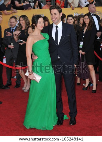 LOS ANGELES, CA - JANUARY 29, 2012: Emily Blunt & John Krasinski at the 17th Annual Screen Actors Guild Awards at the Shrine Auditorium, Los Angeles. January 29, 2012  Los Angeles, CA