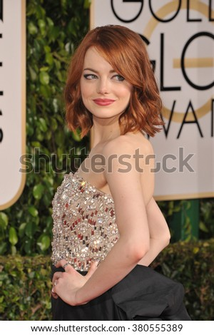 LOS ANGELES, CA - JANUARY 11, 2015: Emma Stone at the 72nd Annual Golden Globe Awards at the Beverly Hilton Hotel, Beverly Hills.