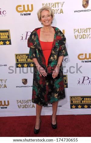 LOS ANGELES, CA - JANUARY 16, 2014: Emma Thompson at the 19th Annual Critics' Choice Awards at The Barker Hangar, Santa Monica Airport.  - stock photo