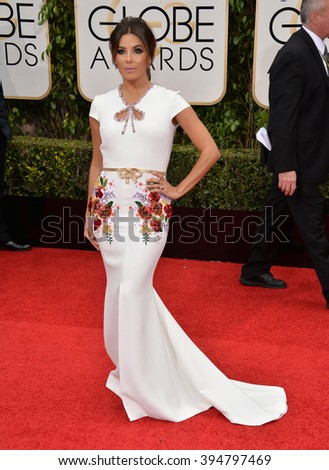 LOS ANGELES, CA - JANUARY 10, 2016: Eva Longoria at the 73rd Annual Golden Globe Awards at the Beverly Hilton Hotel.