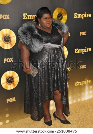 """LOS ANGELES, CA - JANUARY 6, 2015: Gabourey Sidibe at the premiere of Fox's new TV series """"Empire"""" at the Cinerama Dome, Hollywood.  - stock photo"""