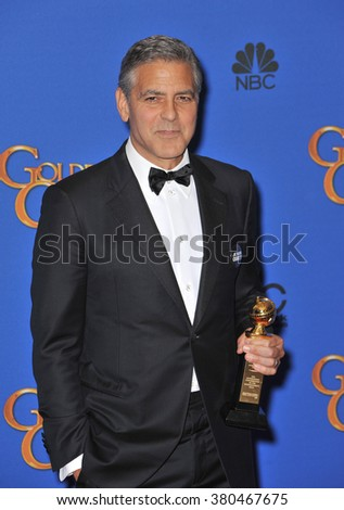 LOS ANGELES, CA - JANUARY 11, 2015: George Clooney at the 72nd Annual Golden Globe Awards at the Beverly Hilton Hotel, Beverly Hills. - stock photo