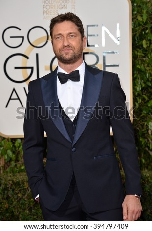 LOS ANGELES, CA - JANUARY 10, 2016: Gerard Butler at the 73rd Annual Golden Globe Awards at the Beverly Hilton Hotel.