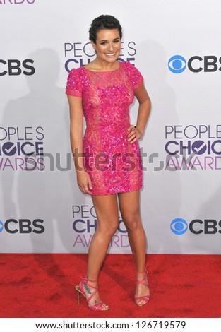 LOS ANGELES, CA - JANUARY 9, 2013: Glee star Lea Michele at the People's Choice Awards 2013 at the Nokia Theatre L.A. Live.