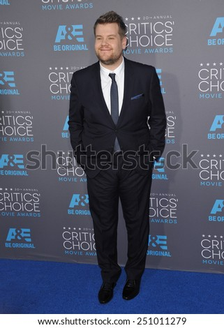LOS ANGELES, CA - JANUARY 15, 2015: James Corden at the 20th Annual Critics' Choice Movie Awards at the Hollywood Palladium.  - stock photo