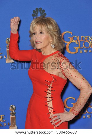 LOS ANGELES, CA - JANUARY 11, 2015: Jane Fonda at the 72nd Annual Golden Globe Awards at the Beverly Hilton Hotel, Beverly Hills. - stock photo